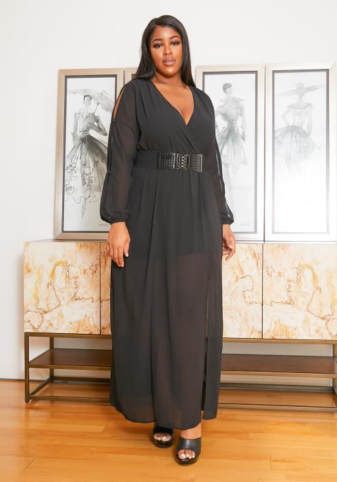 Asoph Plus Size Chiffon High Slit Maxi Dress