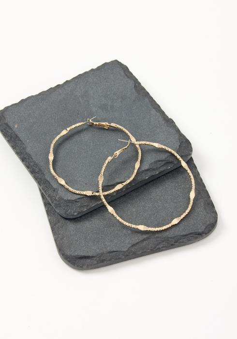 Asoph Almeria Gold Textured Hoop Earrings