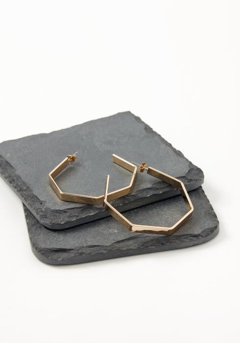 Asoph Retro Hexagon Hoop Earrings
