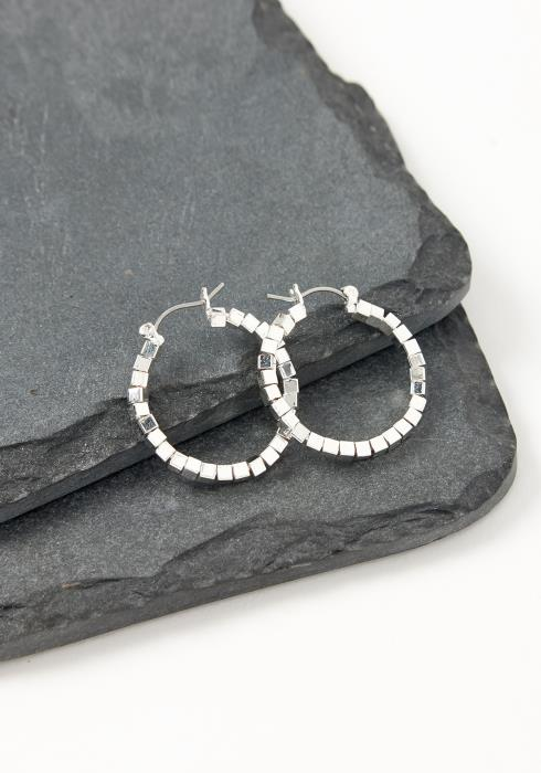 Asoph Marbella Silver Cubic Stone Mini Hoop Earrings