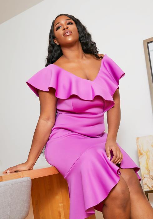 Asoph Plus Size Remarkable Womens Ruffle Hem Midi Dress