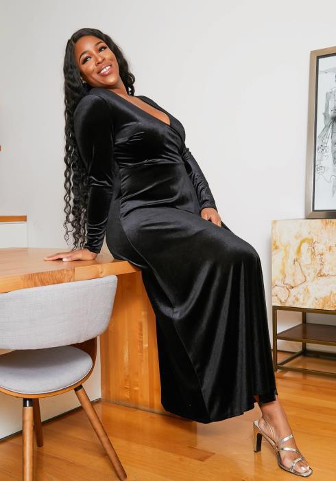 Asoph Plus Size Womens Black Velvet Long Sleeve Maxi Gown