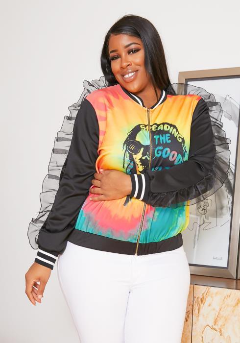 Asoph Plus Size Bob Marley Inspired Bomber Jacket