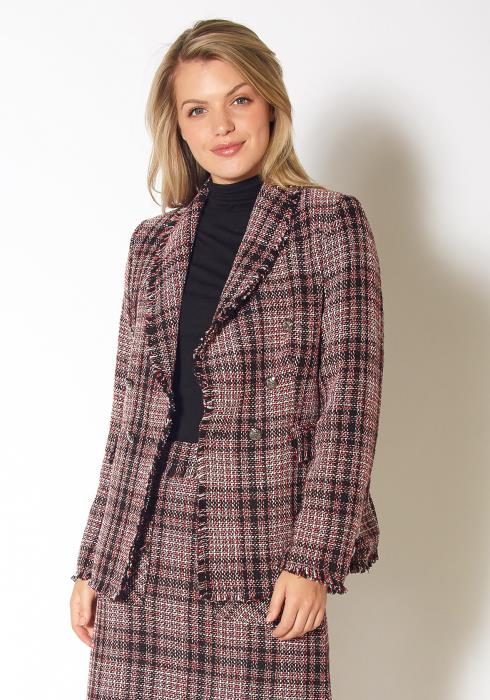 Pleione Fringe Hem Plaid Tweed Blazer
