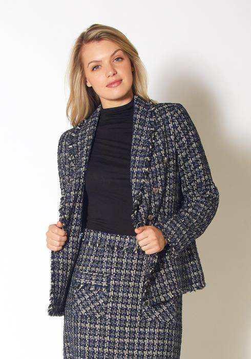 Pleione Plaid Tweed Fringe Hem Blazer Jacket