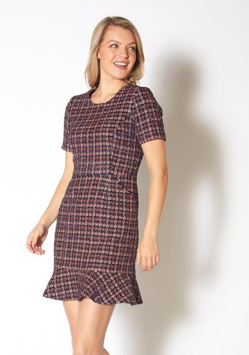 Pleione Womens Tweed Flare Hem Dress