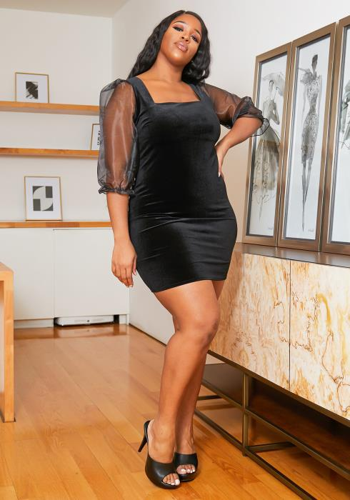 Asoph Plus Size Velvet Square Neck Mini Party Dress