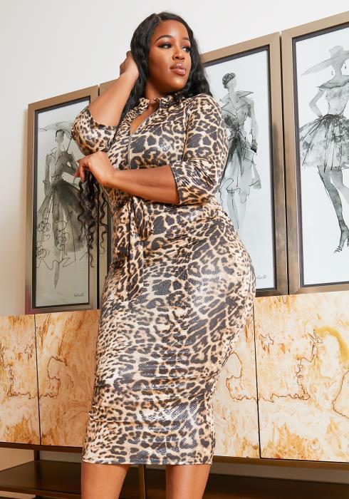 Asoph Plus Size Glossy Leopard Print Bodycon Midi Dress