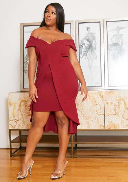 Asoph Plus Size Off Shoulder Ruffle Slit Front Party Dress
