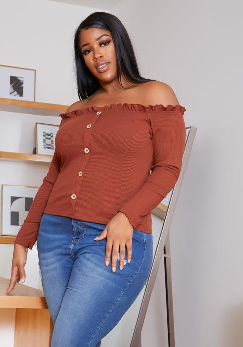 Asoph Plus Size Off Shoulder Button Hem Women Top