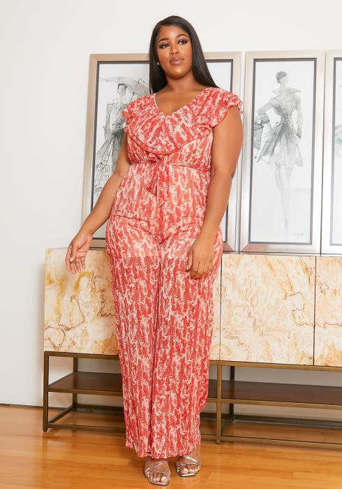 Asoph Plus Size Ruffle Sleeveless Chiffon Jumpsuit