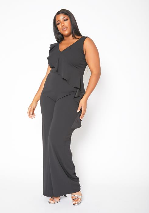 Asoph Plus Size Sleeveless Ruffle Hem Womens Jumpsuit