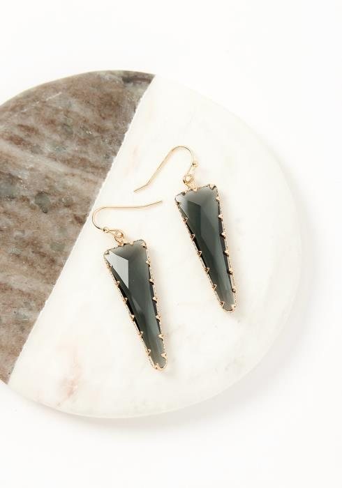 Asoph Aurora Black Crystal Triangle Drop Earrings