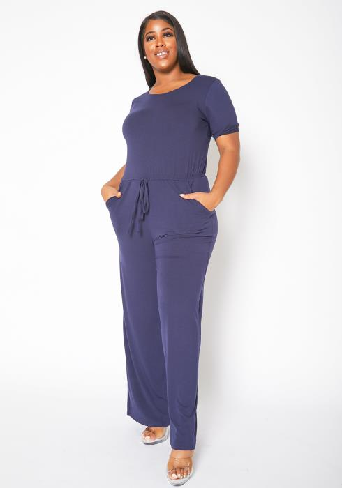 Asoph Plus Size Everyday Short Sleeve Flared Jumpsuit