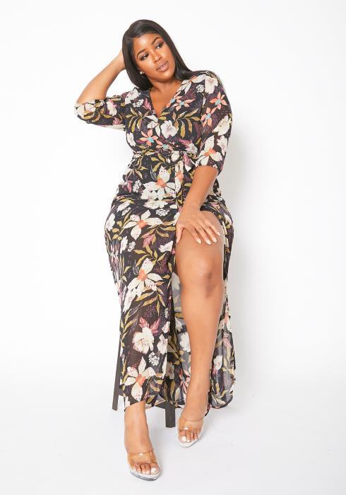 Asoph Curvy Womens Tropical Bae Maxi Dress