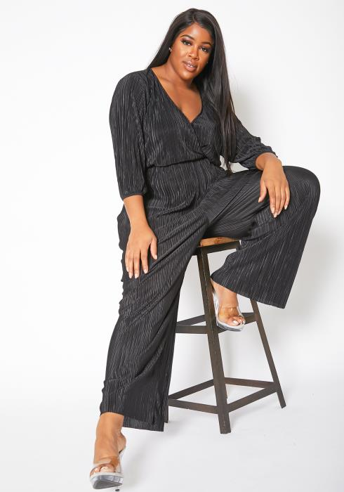 Asoph Plus Size Full Pleated Womens Flare Jumpsuit