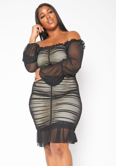 Asoph Plus Size Womens Off Shoulder Ruched Bodycon Party Dress