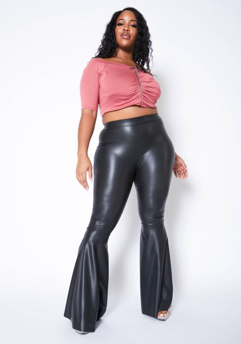 Asoph Plus Size Faux Leather High Rise Flare Leggings
