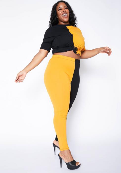 Asoph Plus Size Color Splice Crew Neck Tee Shirt & Leggings Set