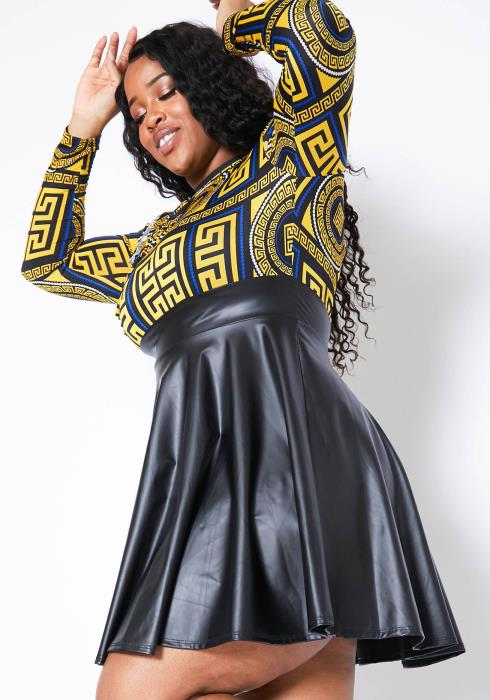 Asoph Plus Size Golden Era Faux Leather Mini Flare Dress