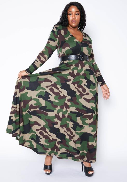 Asoph Plus Size Camo Disguised Womens Long Sleeve Maxi Dress