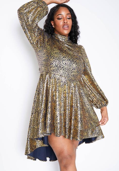 Asoph Plus Size Golden Leopard High Low Womens Flare Mini Dress