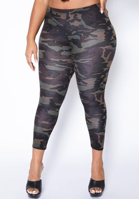 Asoph Plus Size Camo Babe Fitted High Rise Leggings
