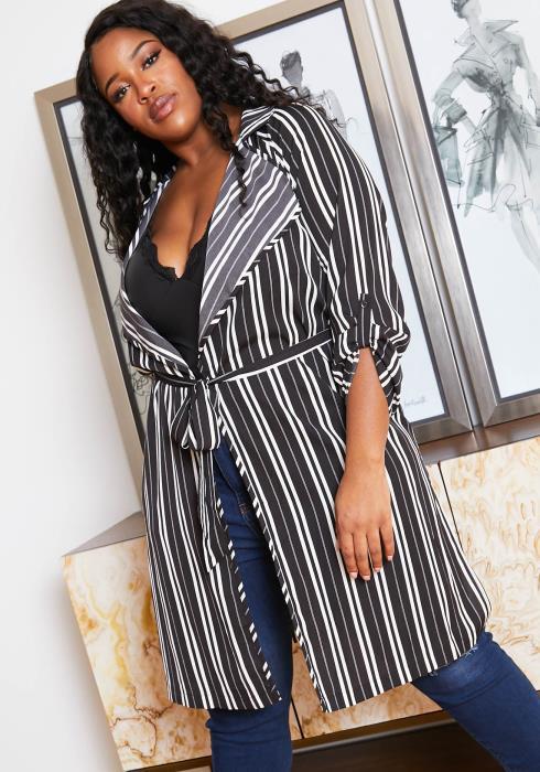 Asoph Plus Size Womens Notch Collar Striped Fresh Cardigan