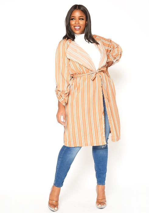 Asoph Plus Size Lightweight Notch Collar Striped Cardigan