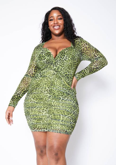 Asoph Plus Size Womens Green Leopard Print Womens Bodycon Mini Dress