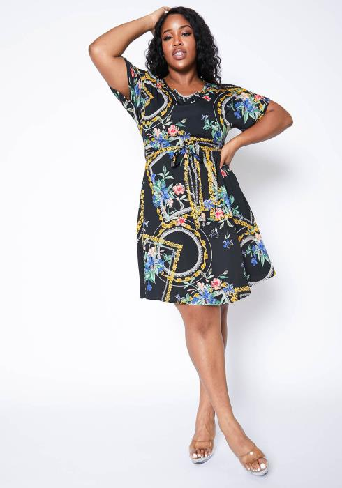 Asoph Plus Size Hidden Paradise Flare Mini Tee Dress