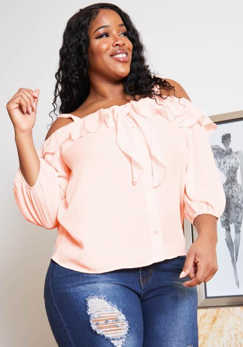 Asoph Plus Size Strappy Off Shoulder Womens Sweet Pink Blouse