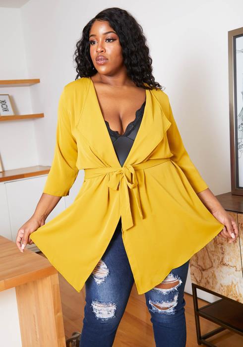 Asoph Plus Size Notch Collar Womens Fresh Tie Cardigan