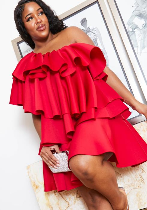 Asoph Plus Size Women Tiered Ruffle Single Shoulder Mini Party Dress