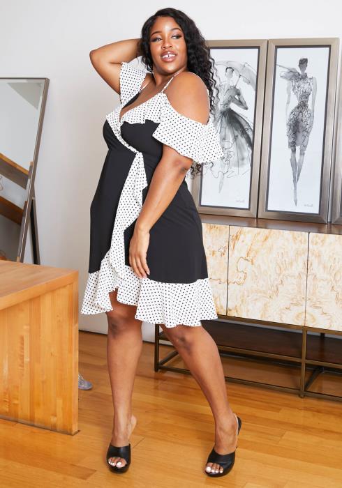 Asoph Plus Size Polka Dot Contrast Womens Rita Midi Dress
