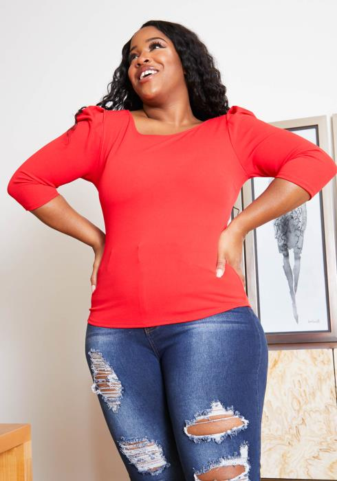 Asoph Plus Size Simply Perfect Red Puff Shoulder Top