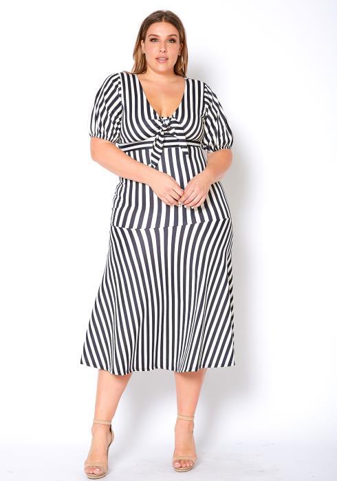 Asoph Plus Size Striped Knot Front Womens Midi Dress