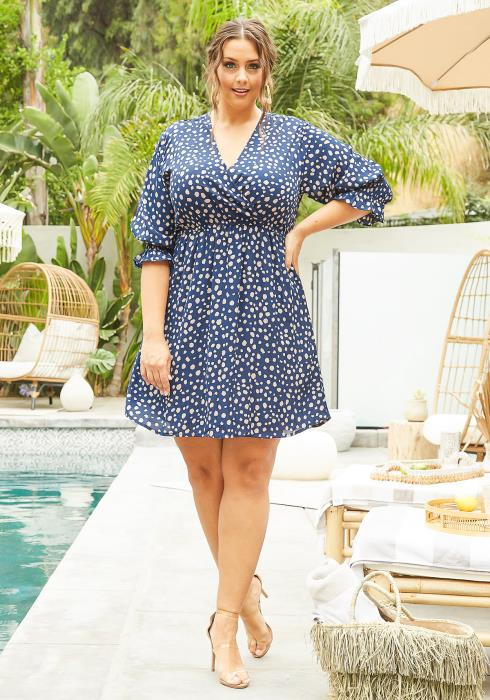 Asoph Plus Size Womens Multi Dotted Mini Flare Dress