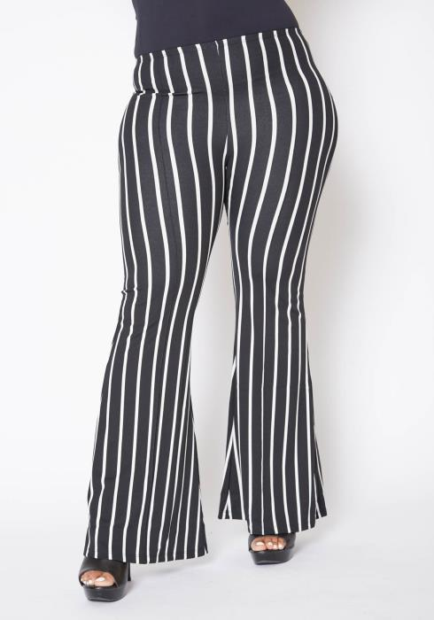 Asoph Plus Size Womens Striped Low Rise Flare Pants