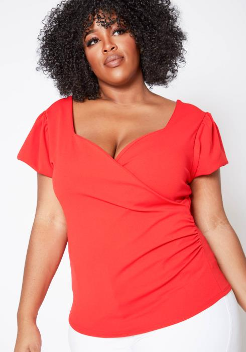 Asoph Plus Size Red Loving Sweetheart Neck Date Top