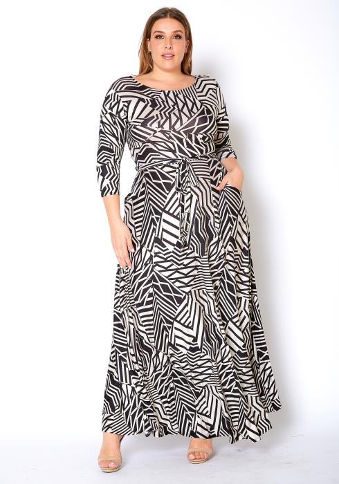 Asoph Plus Size Geo Print Womens Maxi Dress