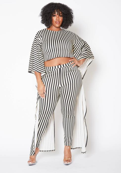 Asoph Plus Size Striped Maxi Cape Crop Top & Leggings Set