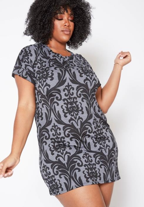 Asoph Plus Size Antique Victorian Patterned Mini Tee Dress