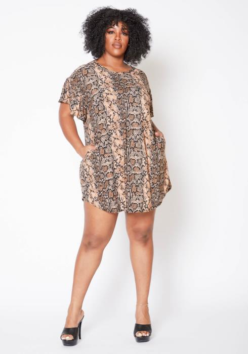 Asoph Plus Size Brown Snakeskin Mini Tee Shirt Dress