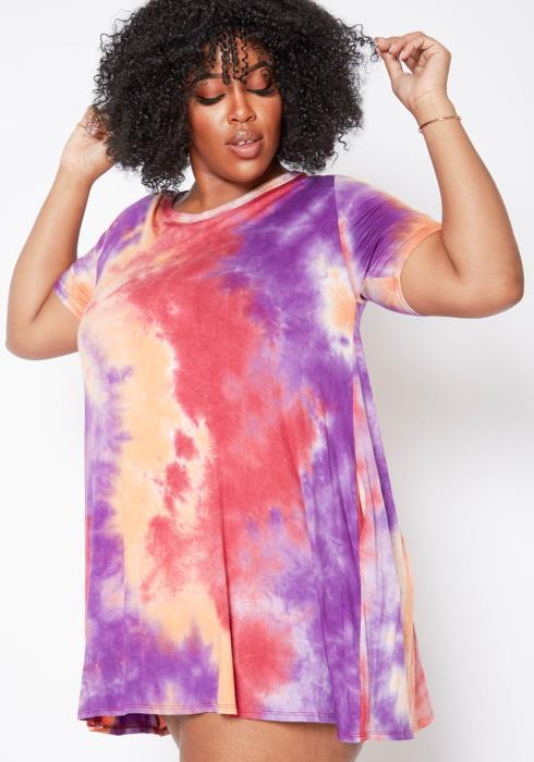 Asoph Plus Size Starburst Tie Dye Crew Neck Tee Shirt Mini Dress