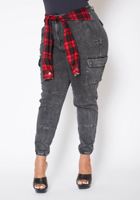 Asoph Plus Size Fade Washed Womens Flannel Tie Cargo Pants