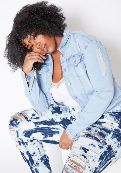 Asoph Plus Size Light Blue Denim Distressed Jean Jacket