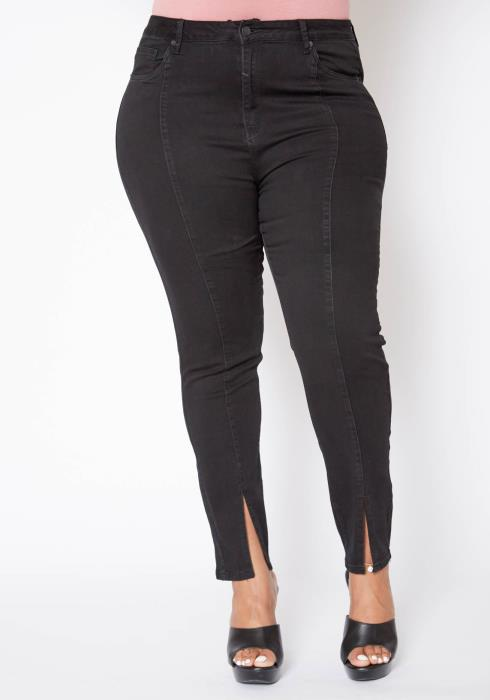Asoph Plus Size Front Ankle Slit Sew Trimmed Black Denim Jeans
