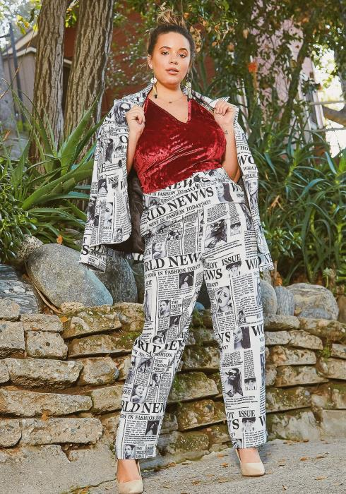Asoph Plus Size Haute News Collar Blazer & Trouser Pants Set