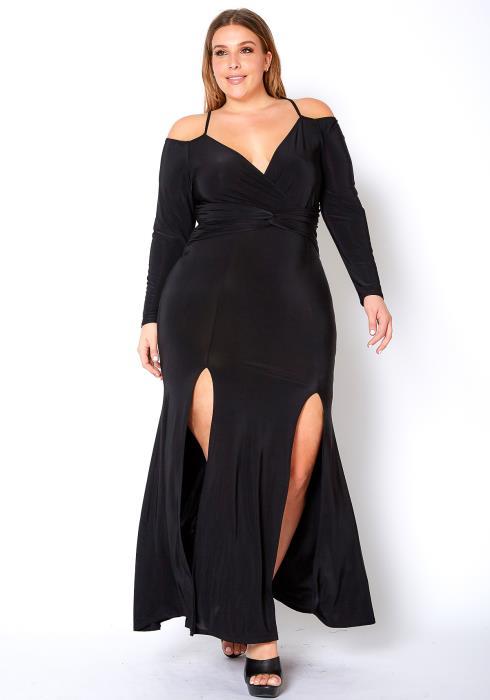 Asoph Plus Size Strappy Off Shoulder Elegant Double Slit Maxi Dress